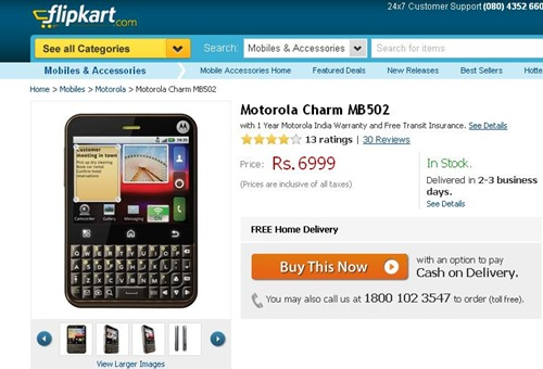 Deal : Motorola Charm at Rs. 6999