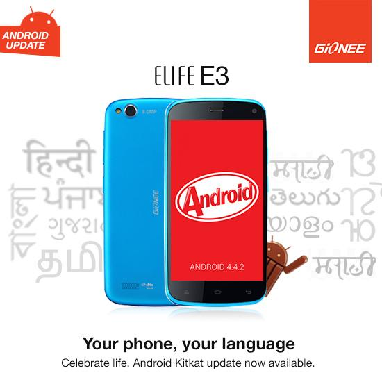 Android KitKat Upgrade For Gionee Elife E3 Brings Support For Local Indian Languages.