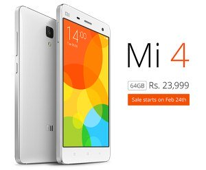 Xiaomi Mi4 64 GB & OnePlus One 16 GB Goes On Sale On 24 Feb