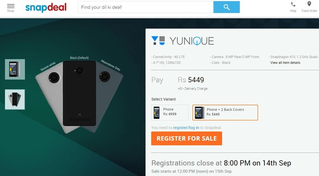 Yu Yunique With 4G, 1GB RAM Launches on Snapdeal Priced Rs. 4,999/-