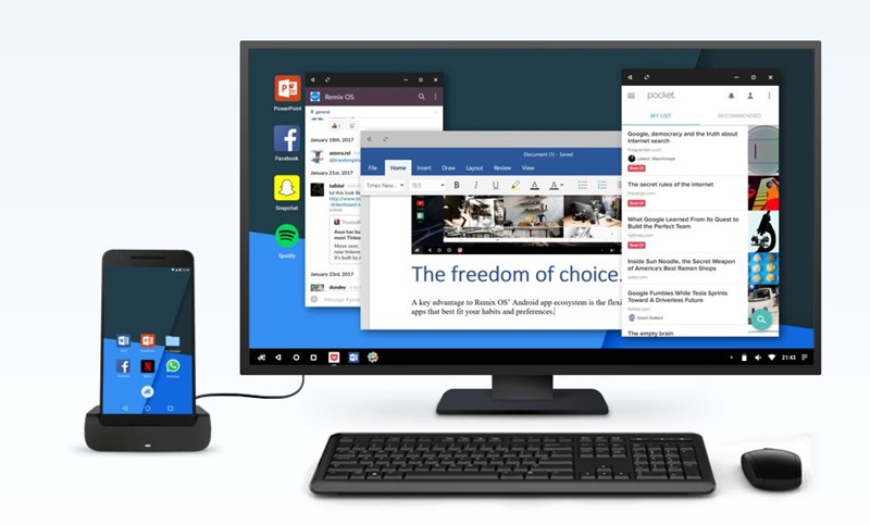 Remix OS for Mobile transforms your Android device into PC.