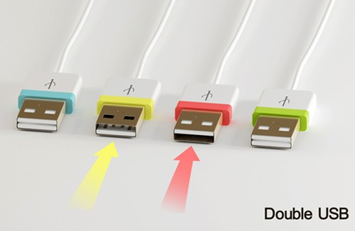 Double USB cable plug lets you plug in the dark!
